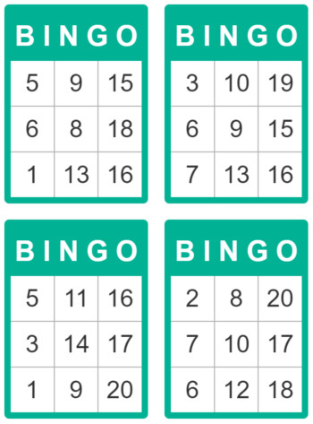 bingo cards for kids 1 to 20