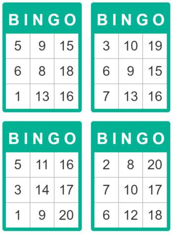 Monster image inside printable bingo cards for kids