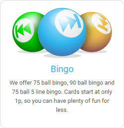 bingo games offered at rewind bingo